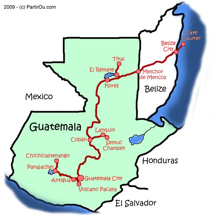 map of guatemala and surrounding countries